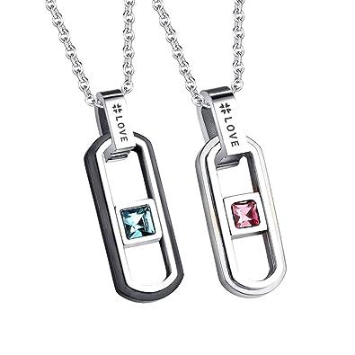 Paike Mode Love circonitas Diamante par Collar de Acero ...