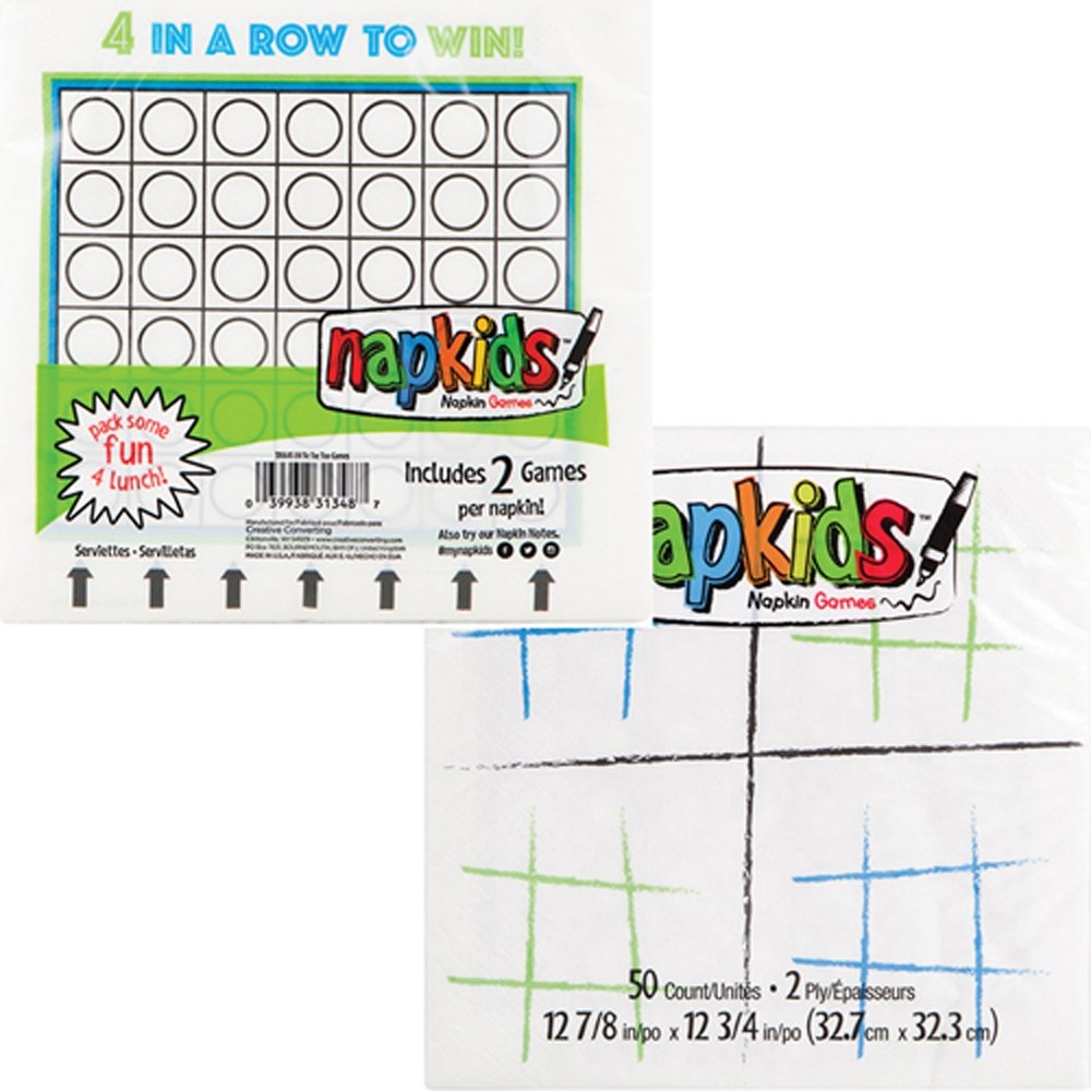Happy Birthday Tic-Tac-Toe and Connect Four Game Lunch Napkins 50ct