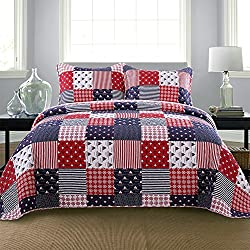 NEWLAKE Cotton Bedspread Quilt Sets-Reversible Patchwork Coverlet Set, Checkered Pattern Old Nautical Theme, Queen Size