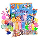 Joyjoz DIY Slime Kit, 43 Packs Crystal Slime Kit - 15 Clear & Fruit Scented Slime with Glitter Powder, Foam Beads, Fruit Slices, Charms, Animal Molds and Tools for Kids & Adults Easter Gift