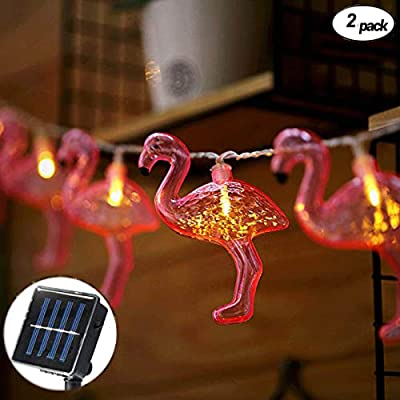 EaseSolies 2 Pack Solar Flamingo String Lights 12.5ft 10 LED Wide Angle LED Mini String Light Fairy Lights Tropical Outdoor Lighting for Tree, Garden, Home, Yard, Party, Patio, Holiday Decor (Warm White) : Garden & Outdoor