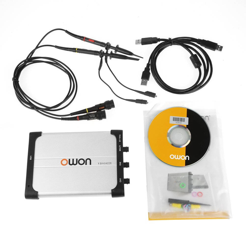 Owon Oscilloscope, Digital Storage Virtual Oscilloscope 25Mhz Bandwidth Dual-channel PC Based USB, spectrum analyzer, data recorder with Portable Design Xinrub