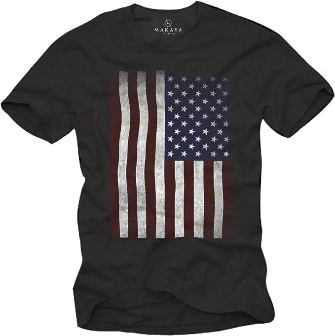 MAKAYA Camiseta con Bandera de Estados Unidos: Amazon.es: Ropa y accesorios