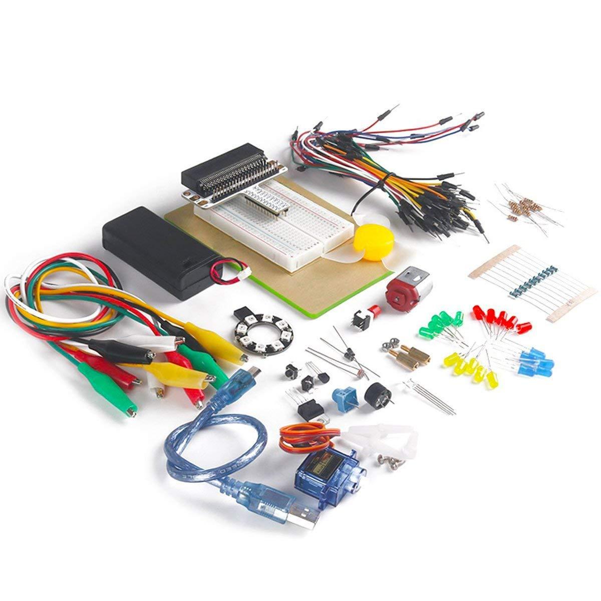 MakerHawk Micro: bit Starter Kit sans Carte de Développement Inclus Micro: bit Breadboard Adapter, Planche à Pain Transparent, SG-90 Mini Servo pour l'apprentissage et la Programmation Planche à Pain Transparent