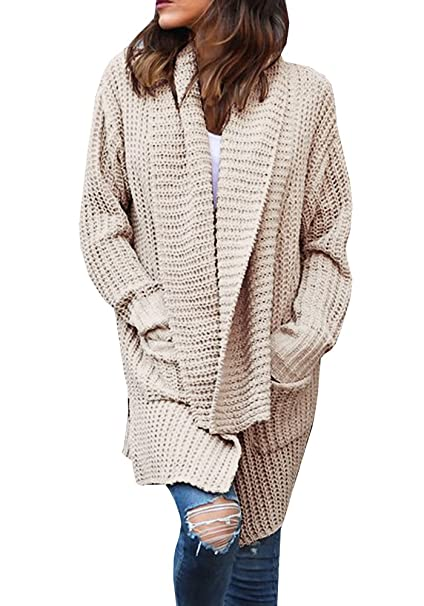 Gobought Women s Casual Long Sleeve Chunky Cable Lapel Draped Knit Sweater  Cardigan Coat with Pockets at Amazon Women s Clothing store  28b60c6f0