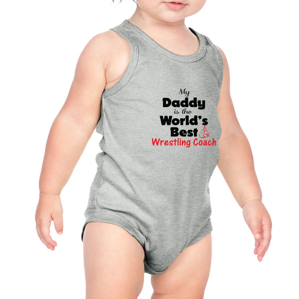 My Daddy is The World's Best Wrestling Coach Combed Ring-Spun Cotton 3/8 Neck Band Unisex Infant Bodysuit One Piece - Heather Gray, 6 Months by Cute Rascals
