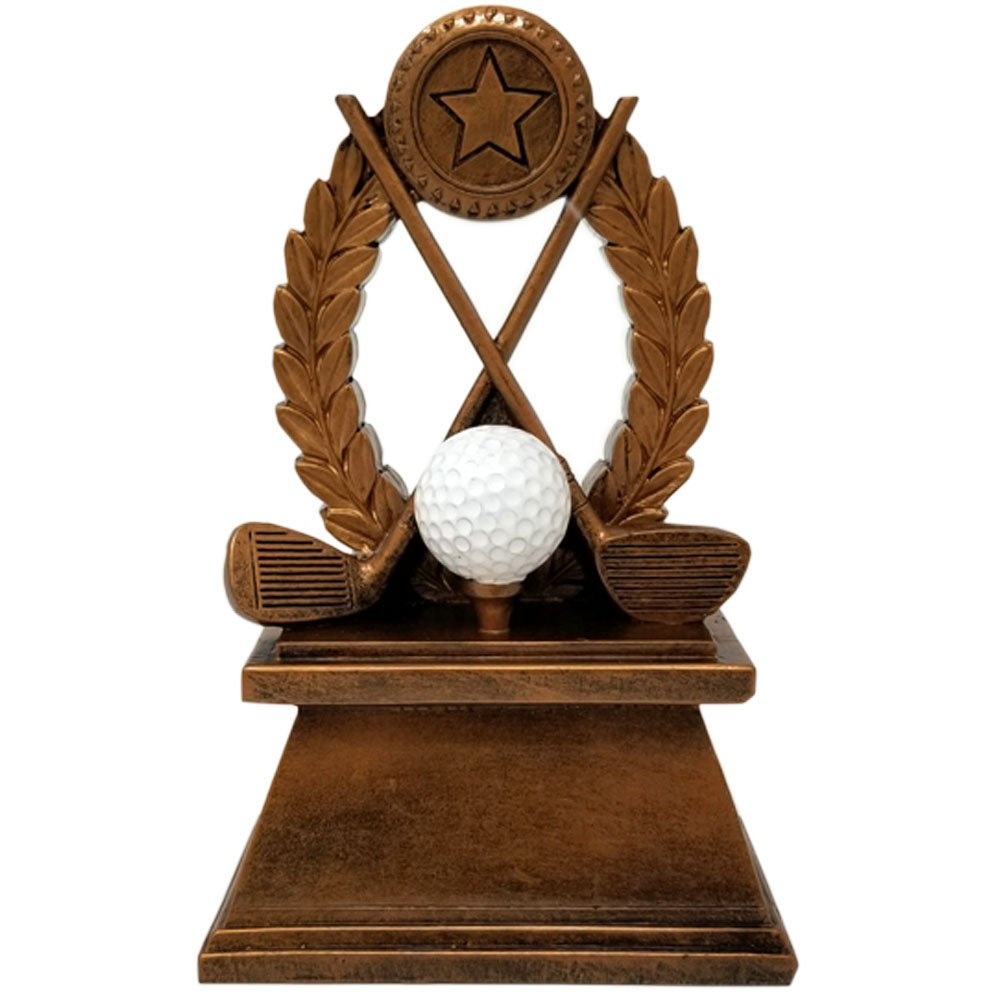 Decade Awards Golfing Trophy | 7 Inch Tall Golf Clubs And Ball Tournament Award - Engraved Plate on Request
