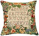 Corona Decor French Jacquard Woven Feather and Down Filled Pillow, Alphabet Design