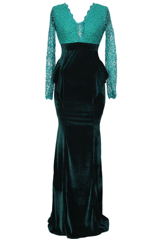959c5d804b39 Verde smeraldo in velluto e paillettes pizzo Abito da sera Prom Cruise  Cocktail Party Dress taglia M 10 - 12  Amazon.it  Sport e tempo libero