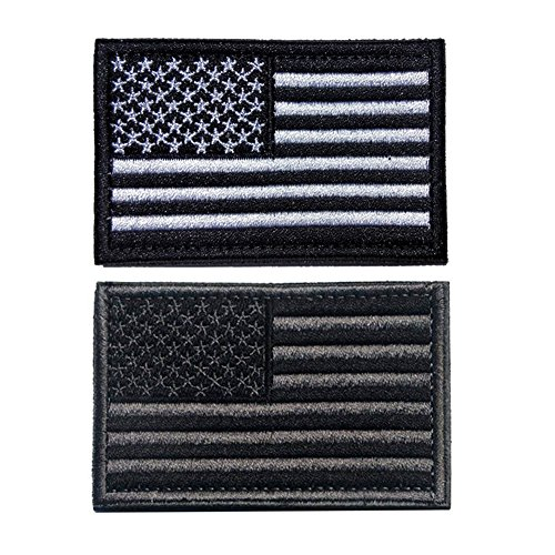 2 Pieces American Flag Patch Bundle and USA Flag Patches, BlackGray and Blackwhite, Tactical Military Patches, American Flag Embroidered Patch