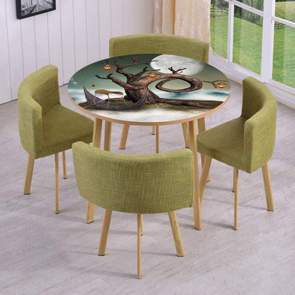 iPrint Round Table/Wall/Floor Decal Strikers/Removable/Surreal Leafless Tree with Lanterns and Full Moon on Magic Cloud Hill/for Living Room/Kitchens/Office Decoration