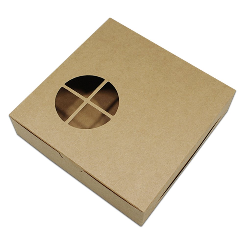 Kraft Paper Cake Box Muffin Cupcake Pastry Packaging Gift Boxes Bakery Container Cardboard Paper Festival Holiday Decor Boxes for Egg Tarts 5.5x5.5x1.4 inch (brown / 150 Pcs)