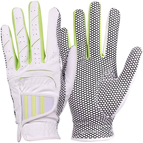 GH Women's Leather Golf Gloves One Pair - Three Lines Both Hands (Green, 21 (L))