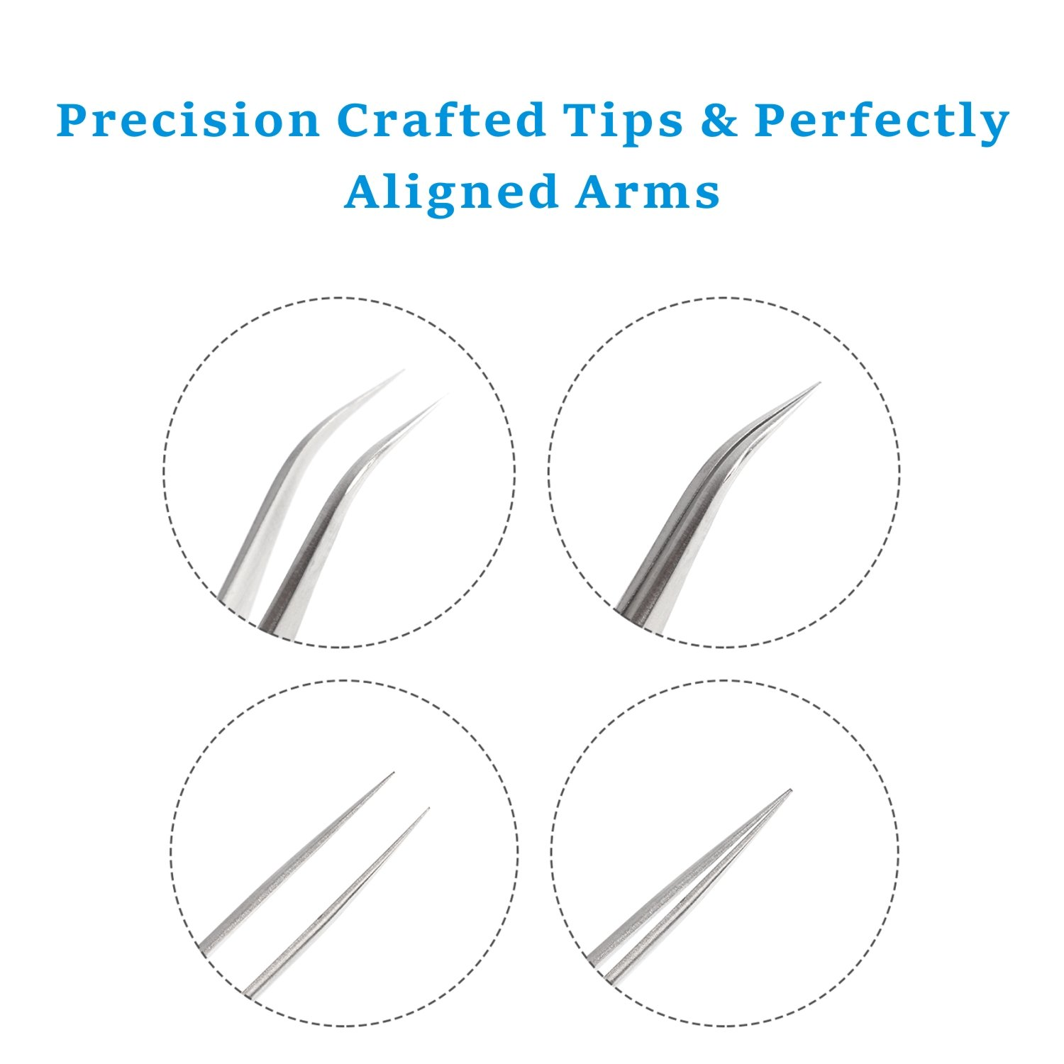 Best Tweezers for Eyelash Extension - Straight and Curved Pointed Tweezers - Professional Stainless Steel Precision Tweezers set - 2 Pcs - Silver - by Nipoo by Nipoo (Image #5)
