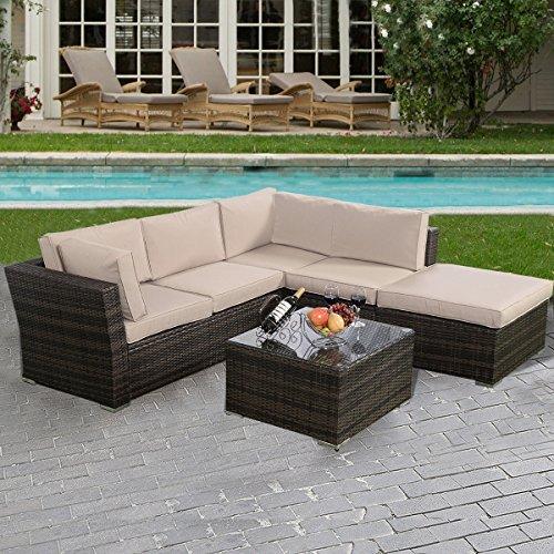 4PCS Wicker Cushioned Patio Rattan Furniture Set Sofa 5 Seat Garden Lawn New (Ebay Furniture Patio)