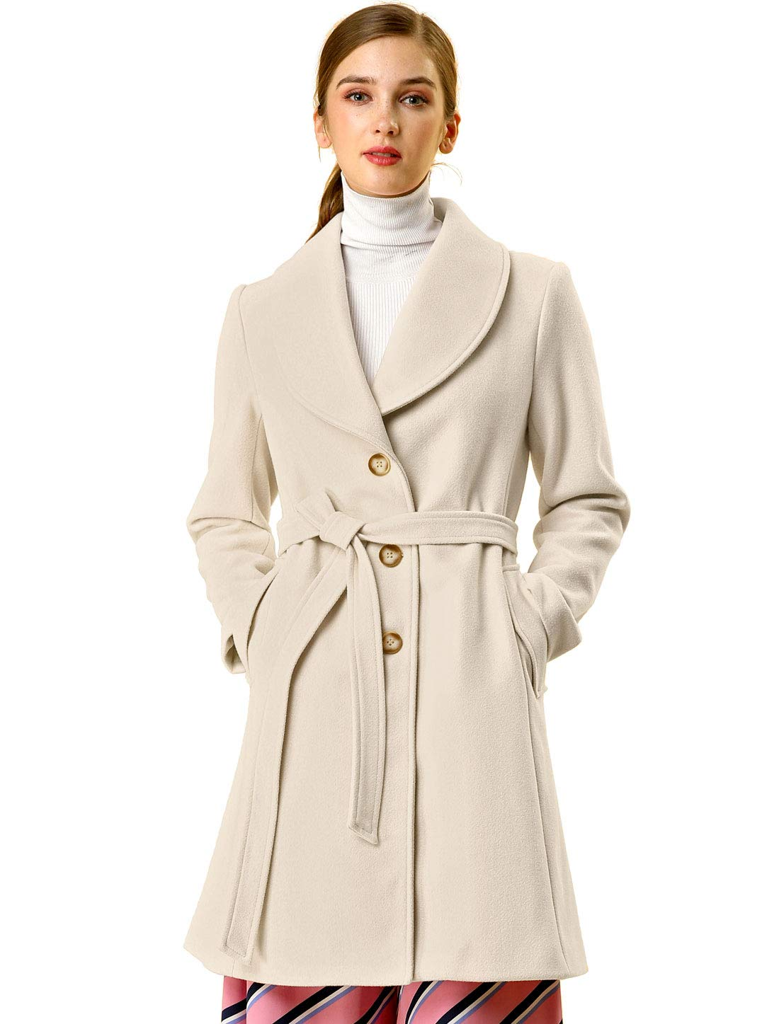 Allegra K Women's Shawl Collar Single Breasted Winter Long Belted Coat