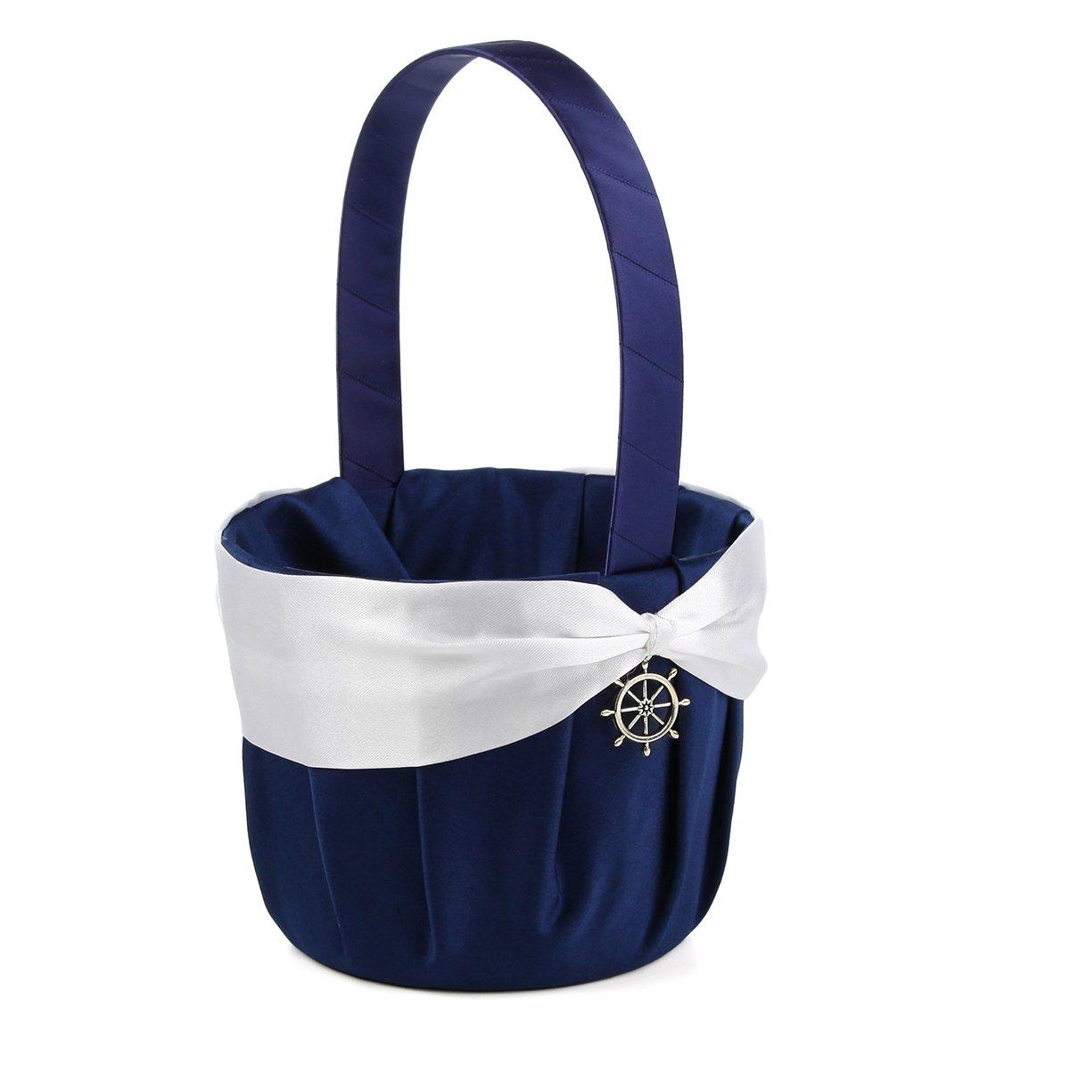 KateMelon Nautical Anchor Charm Flower Girl Basket Wedding Ceremony Party - Navy Blue