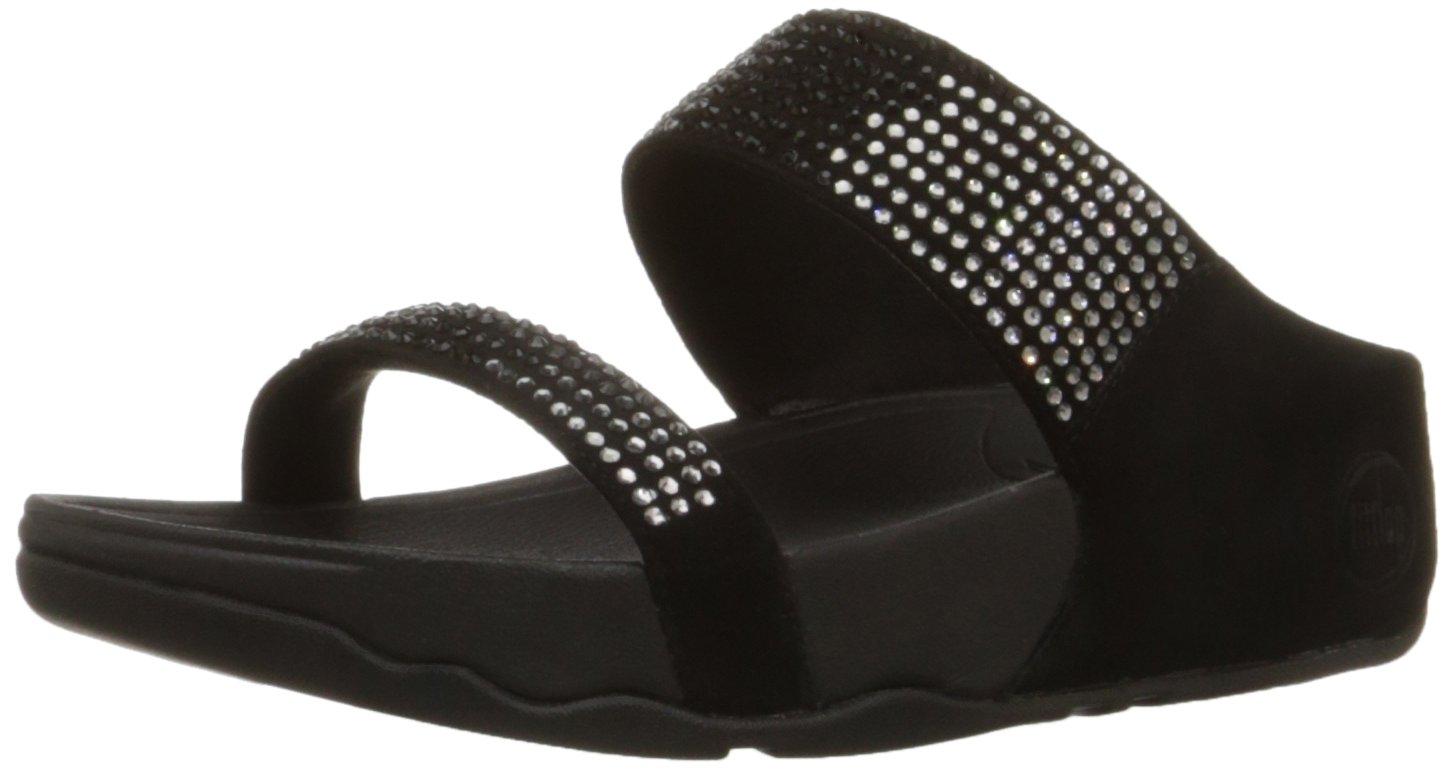 FitFlop Women's Flare Slide Sandal,Black,6 M US