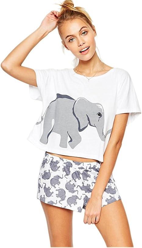 Image of Pareja Pijamas Mujer Elefante Algodón Blanco Moda Tops Pantalones Cortos Lenceria Ropa de Dormir