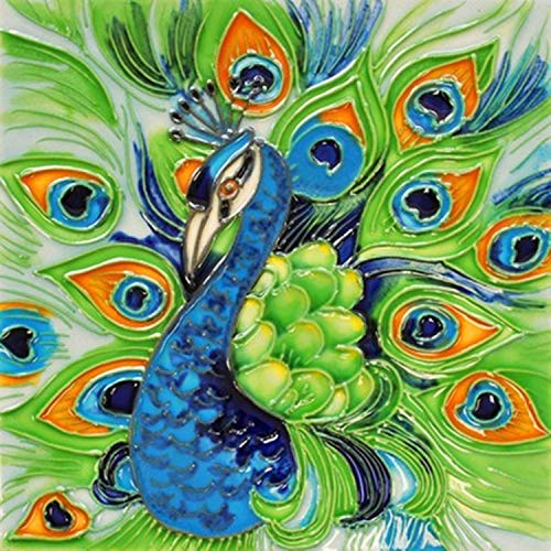 (CCTC Peacock Decorative Ceramic Wall Art Tile 8x8)