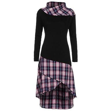 FORH Damen Klassisch Vintage Karierte Muster Patchwork Kleid Spring ...