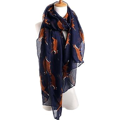 8ceed9c2ea1a iShine Mode Echarpe Longue Foulard Féminin avec Renard Imprimé Châle Légère  Voile Texture Mate pour Femme