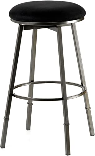 Hillsdale Furniture Sanders Adjustable, Pewter Bar Stool, Black Seat