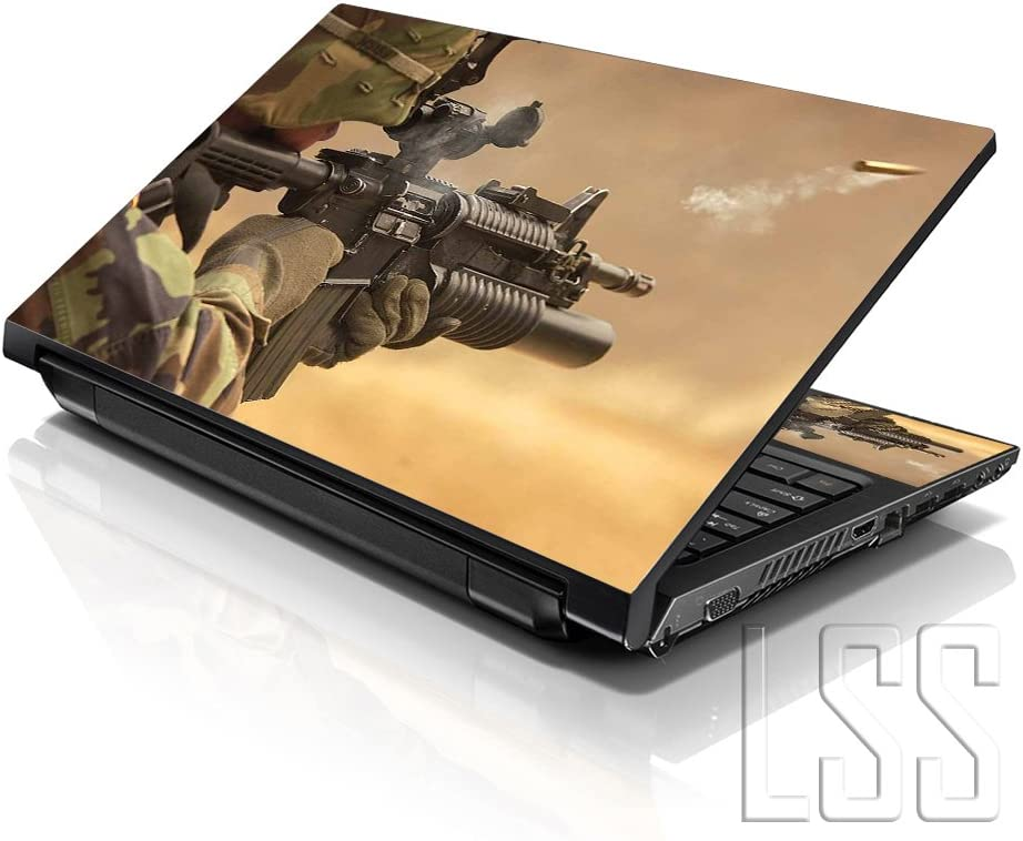 "LSS Laptop 15 15.6 Skin Cover with Colorful Shooting Army Rifle Pattern for HP Dell Lenovo Apple Asus Acer Compaq - Fits 13.3"" 14"" 15.6"" 16"" (2 Wrist Pads Free)"