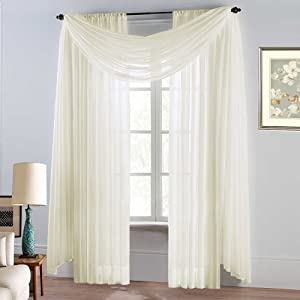 "Avanti Sheer Window Curtains Panels - Premium Voile Topper 2 Curtain Panels 55 by 84 inch Many Colors (2 Panels: 55"" x 84"", Beige)"