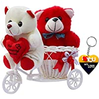 ME&YOU Silk Romantic Cycle Teddy Toy, Red