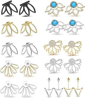 1 Pair Women/'s Earrings Chic Hollow Lotus Flowers Ear Studs Jewelry Earrings