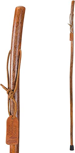 Brazos Trekking Pole Hiking Stick for Men and Women Handcrafted of Lightweight Wood and made in the USA, Hickory, 58 Inches