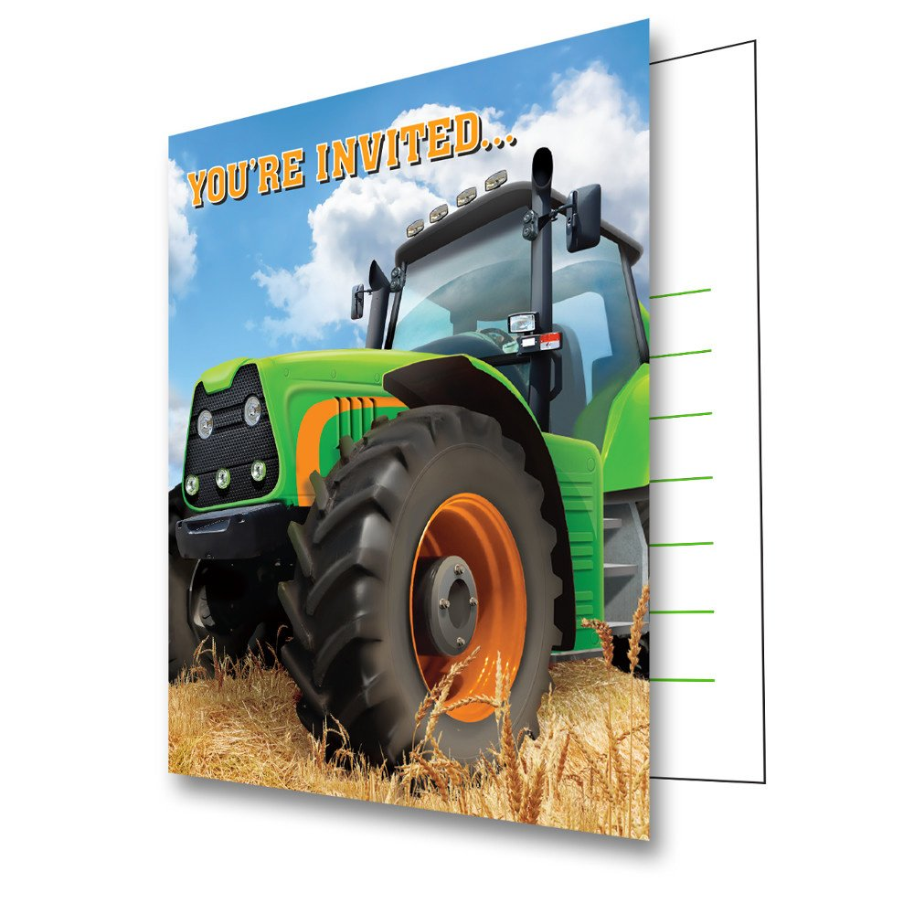 8 Count Tractor Time Birthday Party Invitations Creative Converting SG/_B01C92XPZS/_US