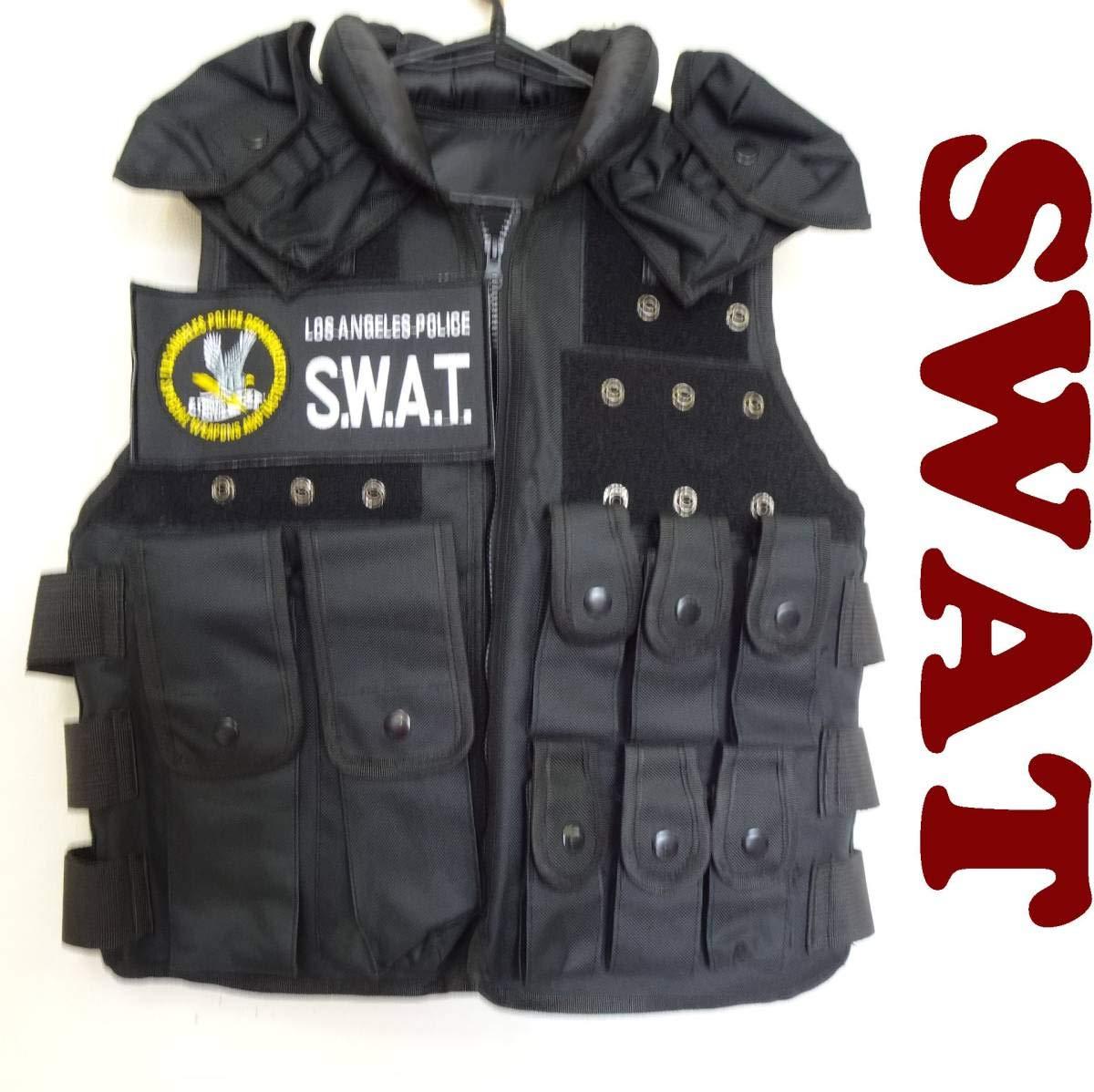 425 SWAT スワット タクティカルベスト プロテクターグローブ付 サバゲー 黒 ブラック ロサンゼルス ポリス 警察 コスプレ B07RKYCVCP