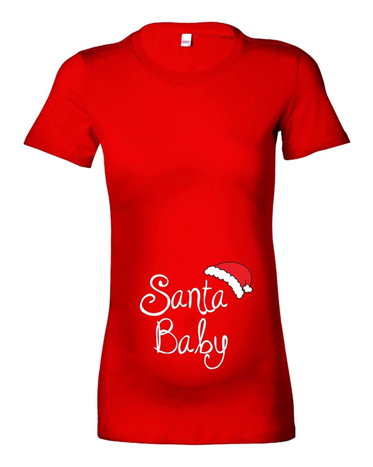522d4800bcf Women s Festive  Santa Baby Christmas Hat  Maternity T-Shirt  Amazon.co.uk   Clothing