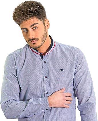 DIVARO - Camisa Cuello Mao MIL Rayas Color Celeste - para Hombre (XXL): Amazon.es: Ropa y accesorios