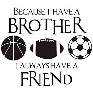 """DNVEN (Black 20"""" w X 23"""" h Kids Sports Learning Basketball Football Soccer PVC Wall Stickers Decals Quote Brothers Friends Kid Room Sports Decor Quotes Wall Decal Kids Inspirational Quotes Wall Decor"""