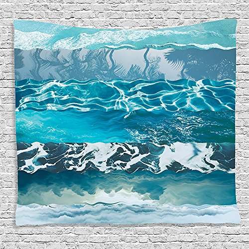 Bedroom Living Room Dorm Elastic fabric Wall Hanging Tapestry Nautical Decor Collection Abstract Major Gradient Flowing Waves Motif Liquid Shallows Pure Freshness Motion Image Blue (Major Egyptian Gods)