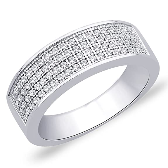 Peora Plated Micro Pave Set Round CZ 3-Row Wedding Band Ring (PR132) Rings at amazon