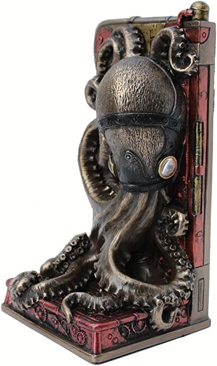 Steampunk Metallic Bronze Copper Finished Octopus Single Bookend Masada Goods