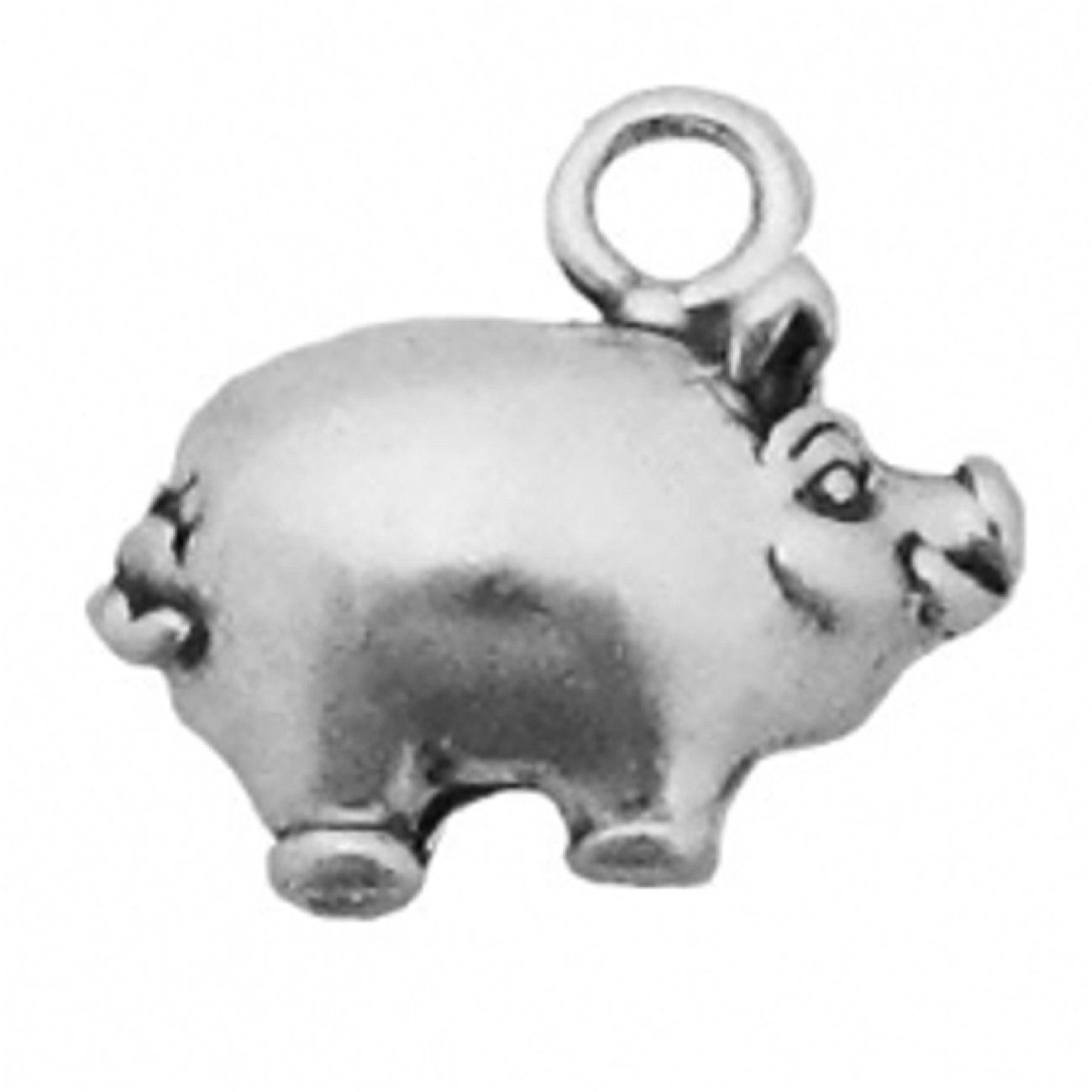 Sterling Silver 7 4.5mm Charm Bracelet With Attached 3D Piggy Bank Charm
