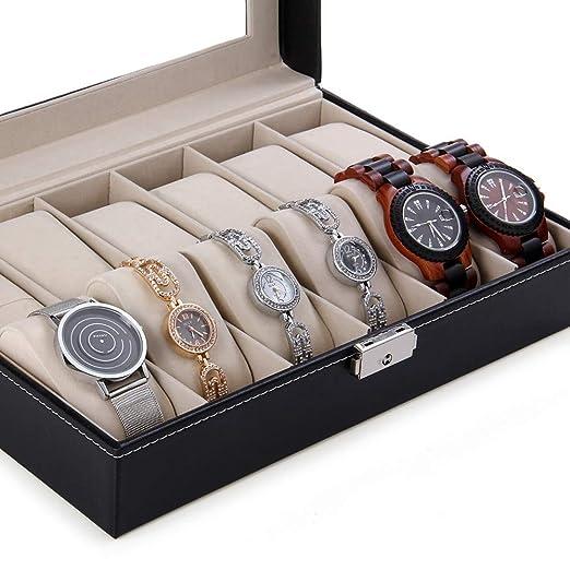 Amazon.com : Storage Boxes & Bins - Davitu 12 Grids Watch Display Case PU Leather Jewelry Storage Box Organizer Watch Box Watch Case cajas para relojes : ...