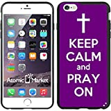 IP6+ Purple Keep Calm and Pray On Iphone 6 Plus 5.5 Inch Case Coverr