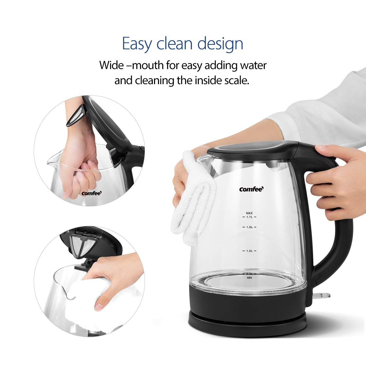 1.7 Liter 1500W Fast Heating with Auto Shut-Off and Boil-Dry Protection Comfee Glass Cordless Electric Kettle