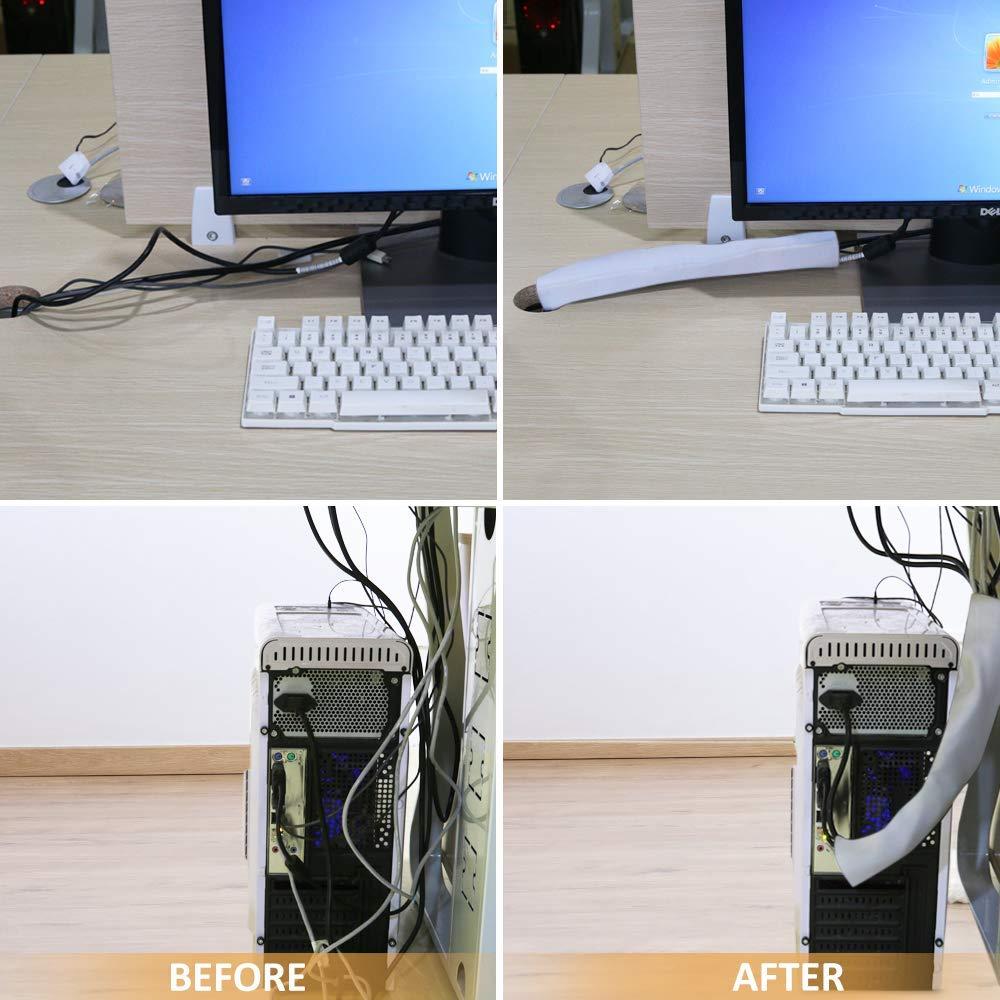 Maniche per la gestione dei cavi Hommie bianco per organizzare i cavi fai da te Home Theater PC TV centro di intrattenimento protezione per ufficio regolabili scrivania