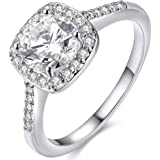 TIVANI [Eternity Love Women's Pretty 18K Silver/White Plated Princess Cut CZ Crystal Engagement Rings Best Promise Rings for Her Anniversary Cocktail Arrow Wedding Bands Collection Jewelry Rings