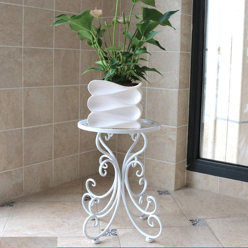 YXLZZO Pflanze Rahmen Metal Flower Stand Heim Boden Topf Rack DREI Farben Vorhanden 24 × 34 × 25 cm Blumenständer (Color : White)