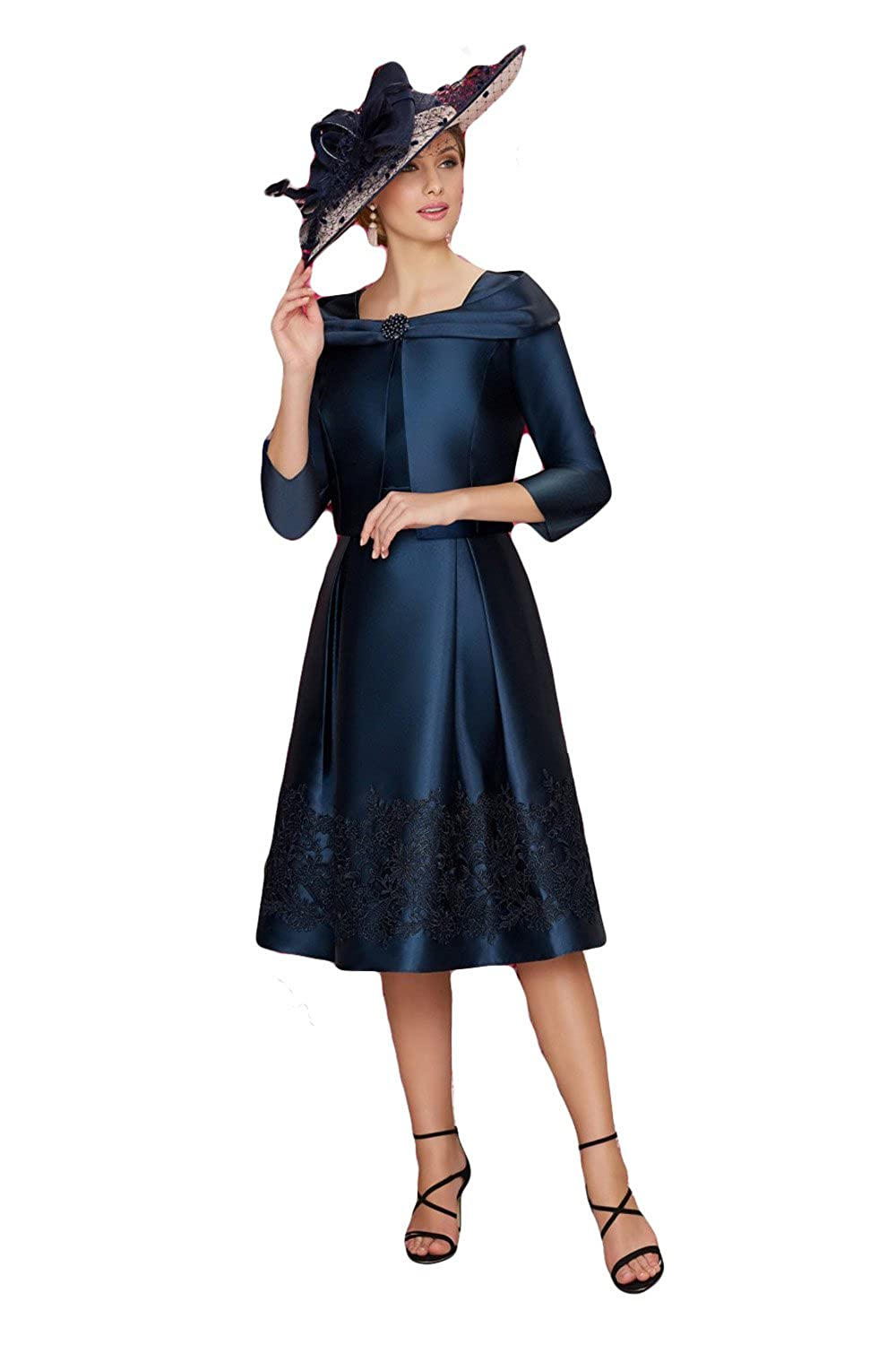 Newdeve A line Mother of The Bride Dresses Tea Length Navy