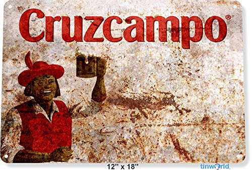 TIN SIGN 12'' x 18'' Cruzcampo Spanish Beer Decor Spain Bar Pub Shop Store Cave Tinworld A766 by Tinworld