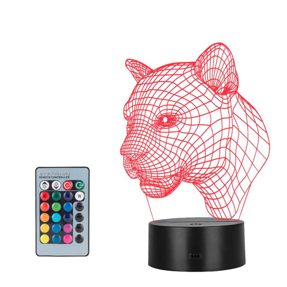 Linkax Luce notturna 3D Illusione Ottica Led Lampada di Illuminazione Luce decorazioni Luci notturne Per comodino Bambini cameretta 7 telecomando a colori con Base & Caricatore USB (Testa di Cavallo)